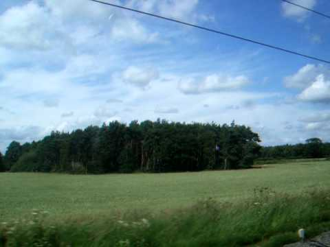 Cheshire countryside, from the Manchester-Crewe line