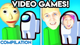 VIDEO GAMES WITH ZERO BUDGET! (Among Us, Baldi, Granny, Piggy, Henry Stickmin, Adopt Me, Siren Head)