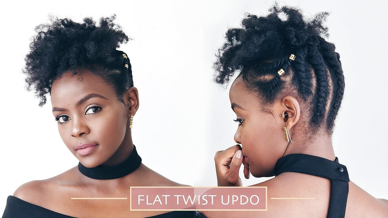 Natural Hair Simple Flat Twist Updo Youtube