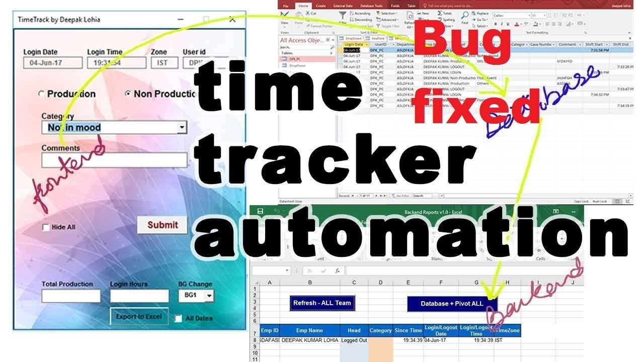 vba time and motion tool time tracker attendance tracker bug