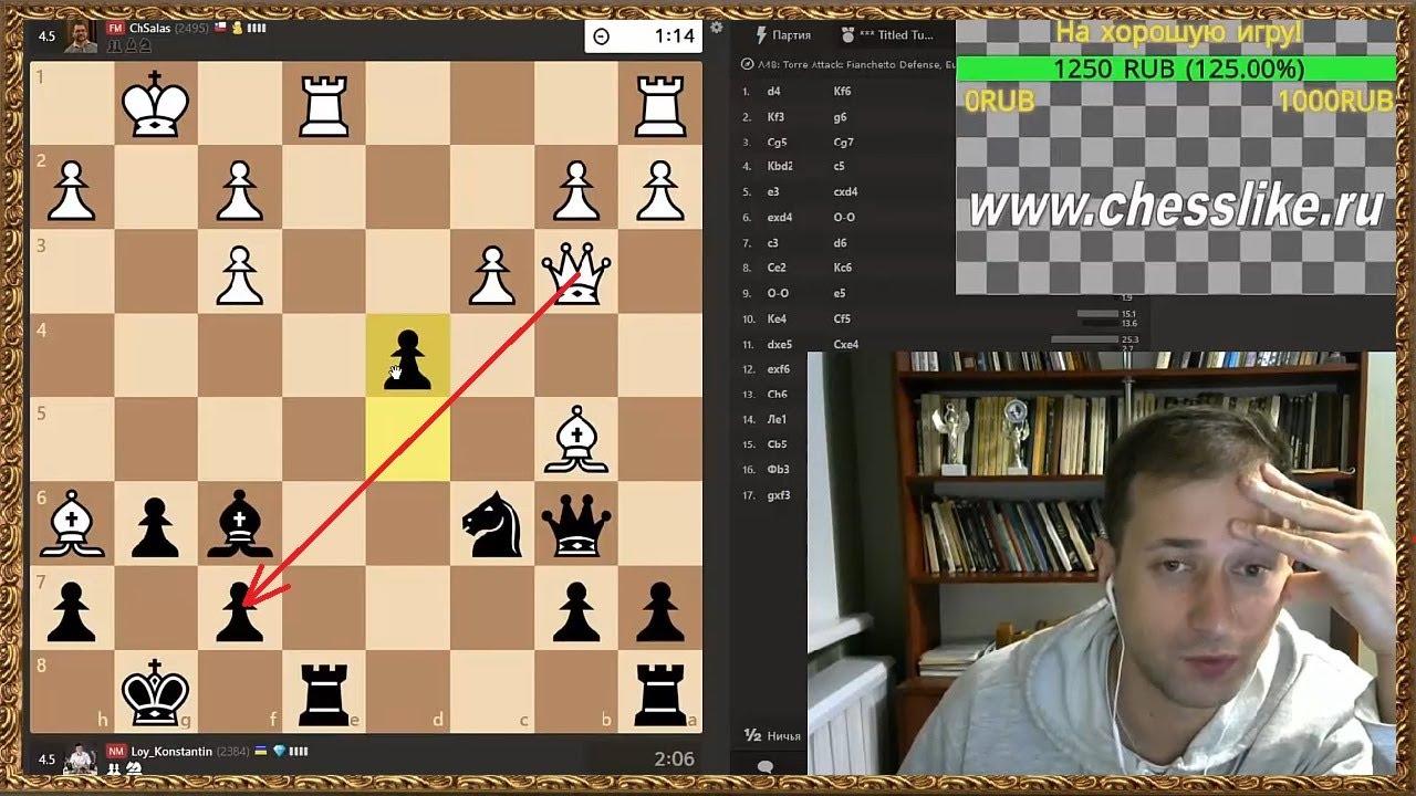 Шахматы онлайн. Шикарнейшая жертва ферзя!