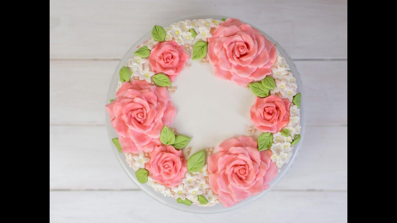 hochzeitstorte selber machen blumenkranz torte teil 1 fondant rosen aus der silikonmould. Black Bedroom Furniture Sets. Home Design Ideas