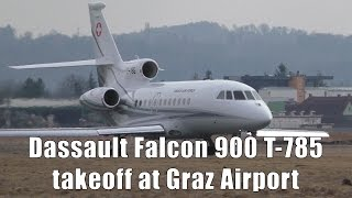Swiss Air Force Dassault Falcon 900 takeoff at Graz Airport | T-785