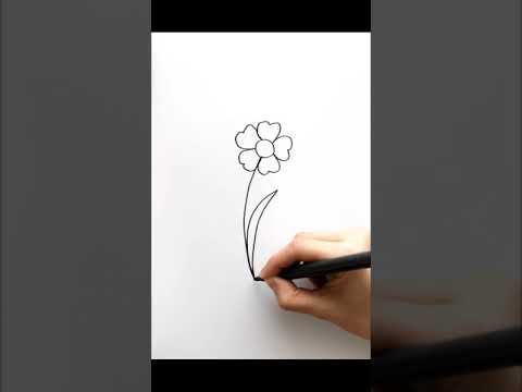 One line flower drawing.Single line flower. #shorts