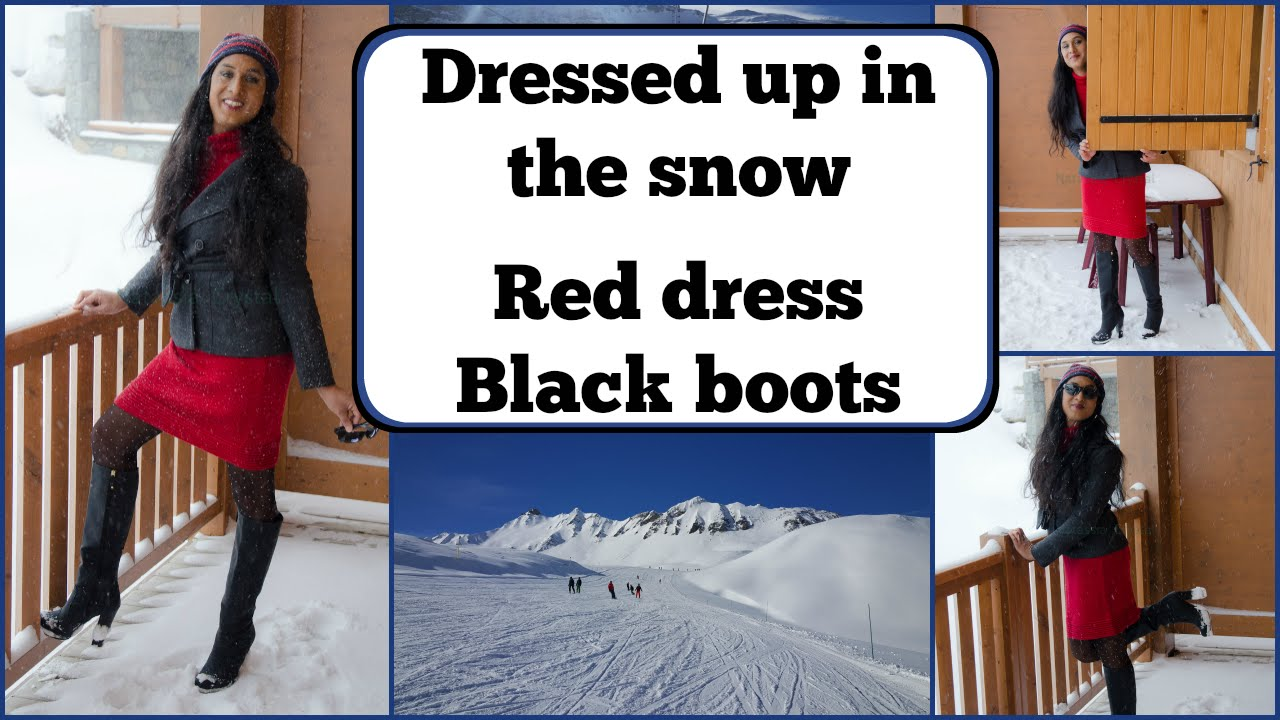 6bf77596534 Crossdresser - in France in the snow - black high heels boots ...