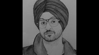 How to draw diljit dosanjh face sketch drawing step by step