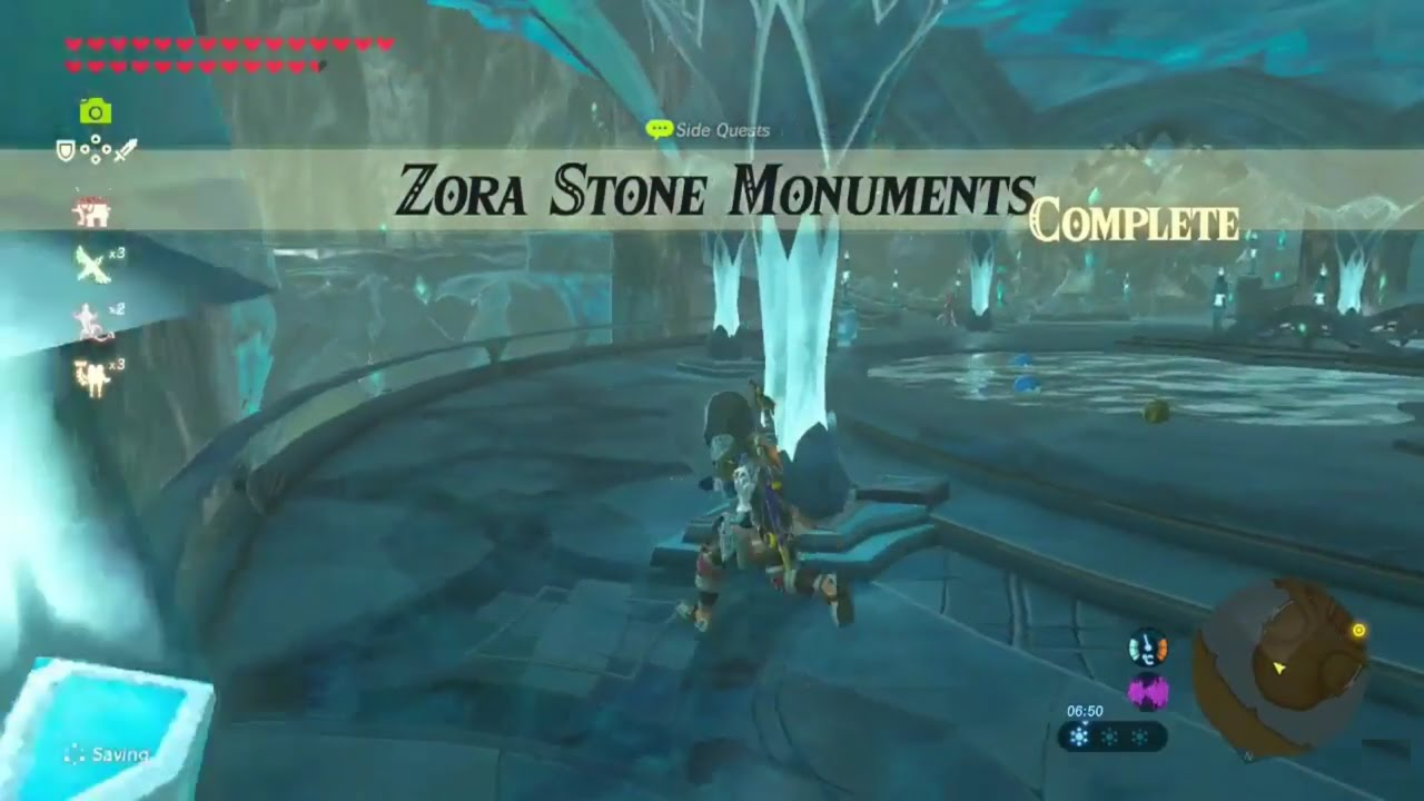Zelda Breath Of The Wild Zora Stone Monuments Side Quest