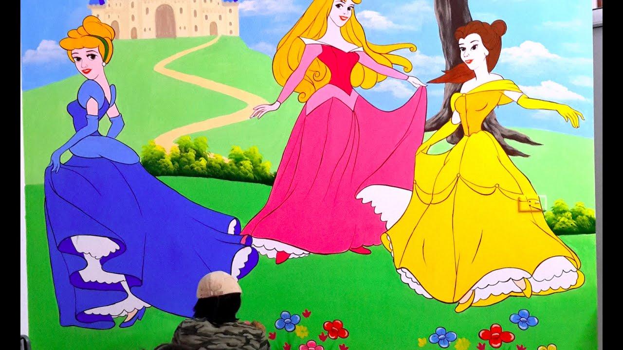 Vẽ tranh tường phòng bé gái, công chúa  Belle và Aurora