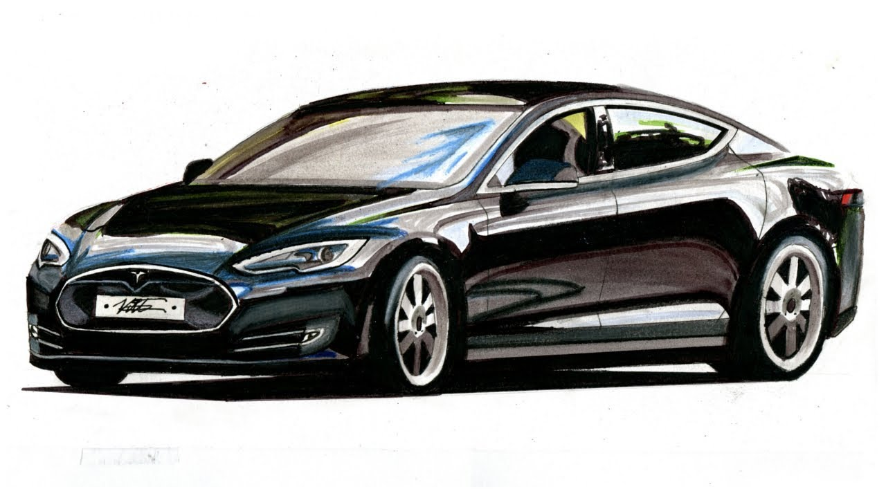 Tesla Car Coloring Pages : Realistic car drawing tesla model s time lapse youtube