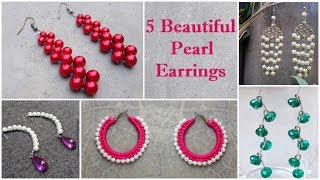 5 DIY Pearl Earrings | How To Make Pearl Earrings At Home | Dangle Earrings Tutorial | Creation&you