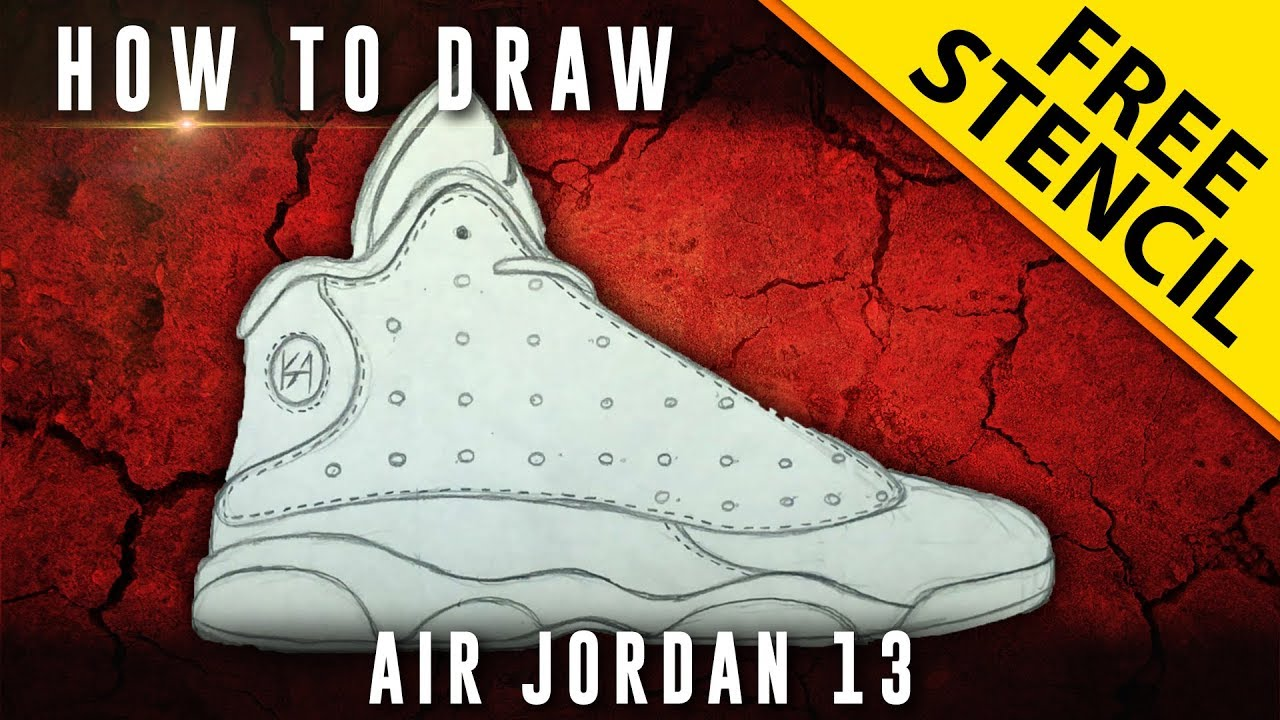 save off a0a2d aab80 How To Draw  Air Jordan 13 w  Downloadable Stencil