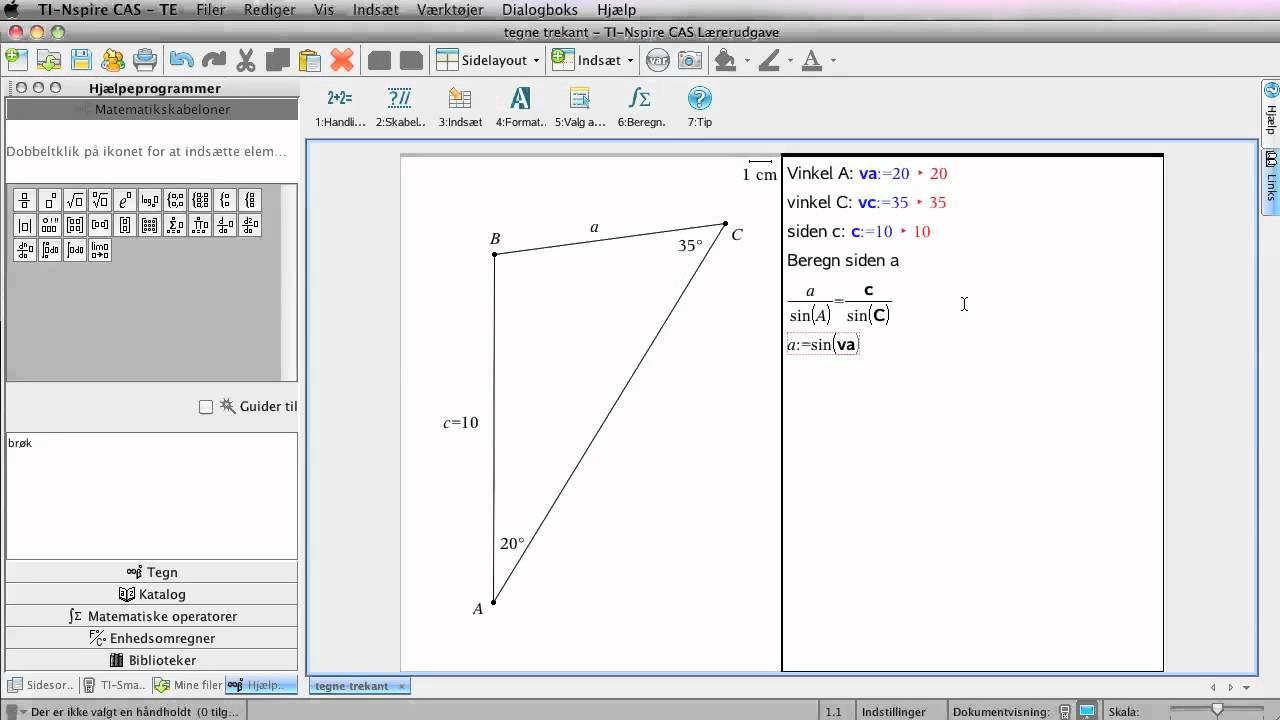 Trigonometrisk beregning med nspire cas SW (sinusrelationen)