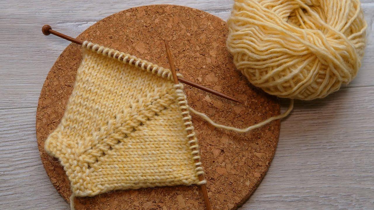 Линия реглана на 4х петлях спицами 🥰 Raglan line pattern for 4 stitches