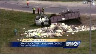 Overturned dump truck shuts down Highway 69 ramp