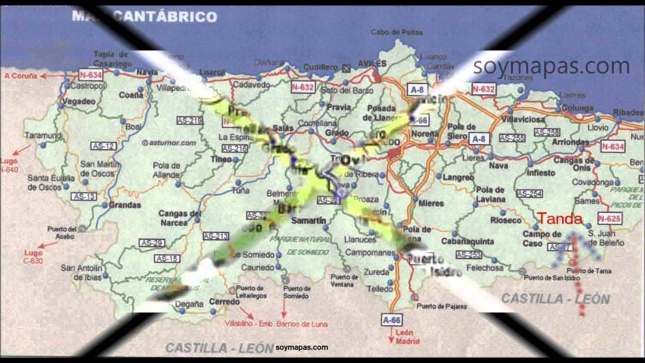 Mapa Costa De Asturias.Mapa De Asturias