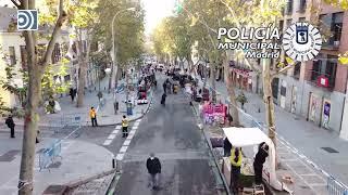 La Policía Local utiliza drones para controlar la reapertura del Rastro en Madrid