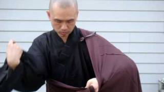 How to take off the robe in Chinese Buddhism?  front view