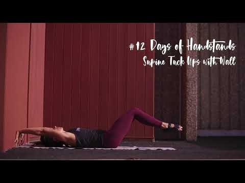 Supine Tuck Ups with Wall | YogaSlackers 12 Days of Handstands