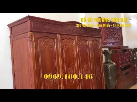 Tủ Quần áo Gỗ Gõ Cao 2m Rộng 2m2 Giá Siêu Rẻ