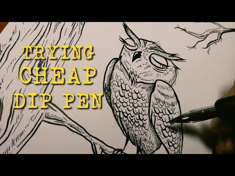 Owl ink drawing using CHEAP dip pen ✒ (UNBOXING & DEMO)