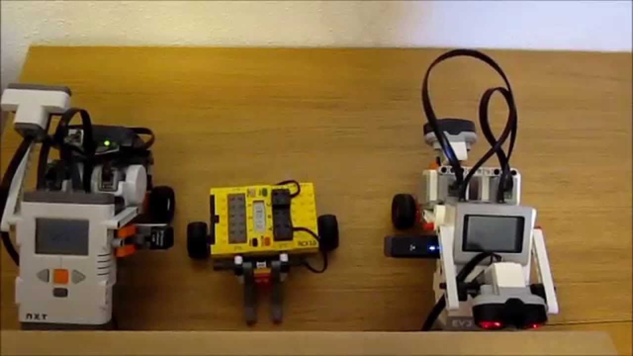 Lego RCX , NXT and EV3 , robots working together