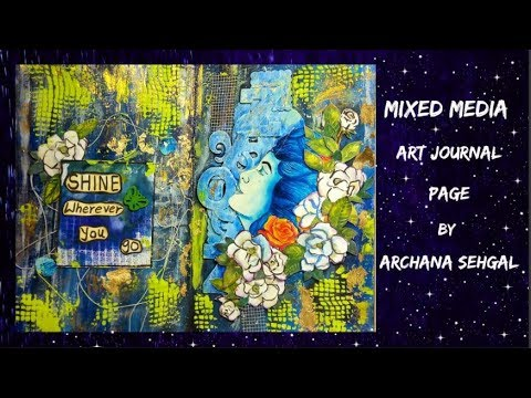 Mixed Media Art journal page || Using fun foils and Chalk paints by Craftyscrappers