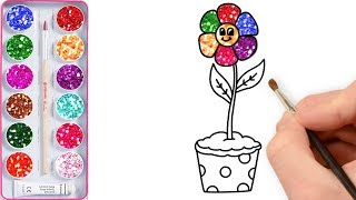 Glitter Flowers Drawing and Coloring | How to Draw Flowerpot for Kids with Colored Markers