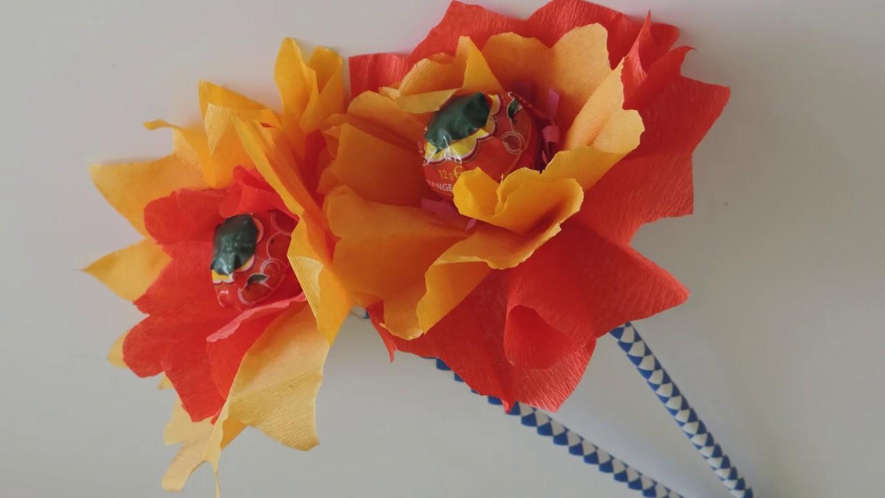 Fiori di carta con lecca lecca centrale tutorial youtube - Decorazioni con fazzoletti di carta ...