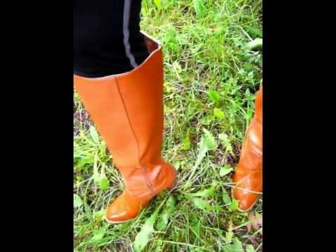 Brown Tall Leather High Heel Boots Trampling And Crushing