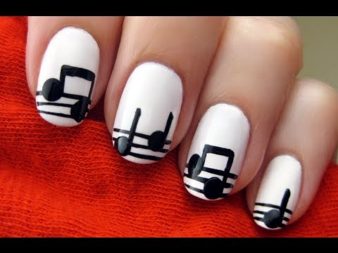 Easy Music Note Nail Art - Easy Music Note Nail Art - YouTube