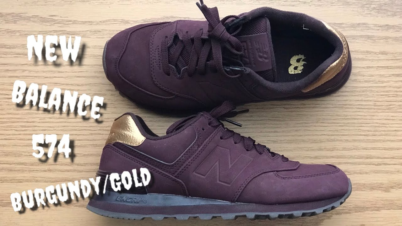 New Balance 574 BurgundyGold Review & On Feet