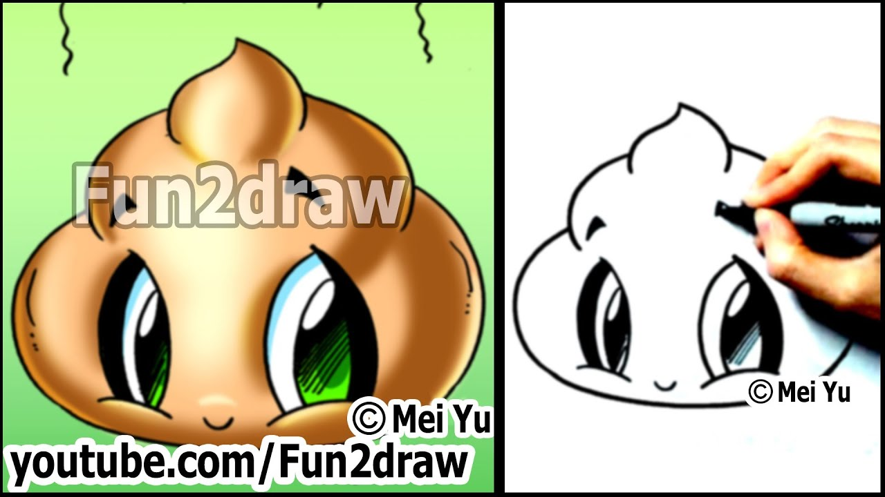 cute poo how to draw funny cartoons step by step easy youtube
