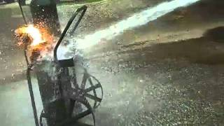 Acetylene Tank, On Fire, Fire, Burning Cylinder