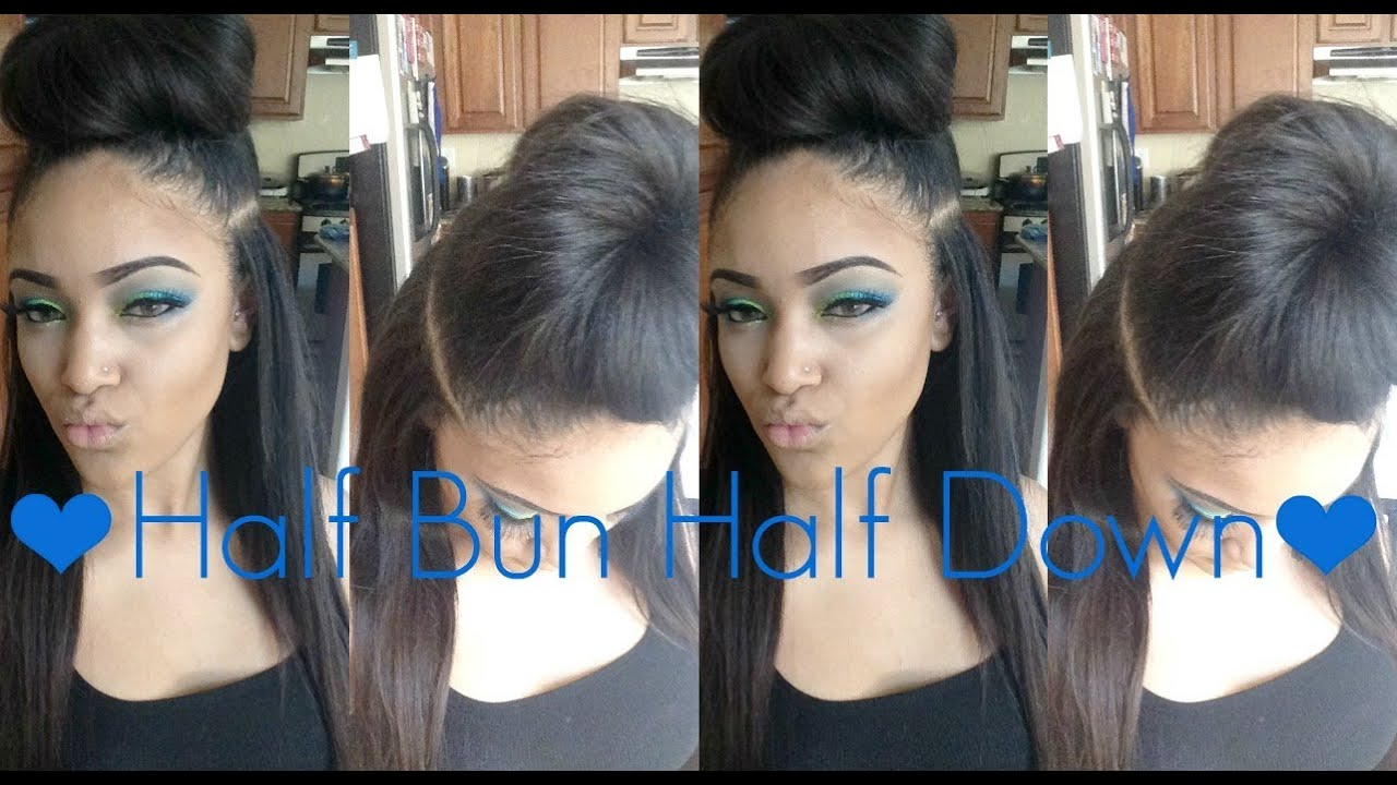 ♥ Half Bun Half Down Tutorial ♥ - YouTube