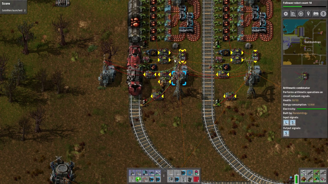 Factorio send train to unblocked station with least resources