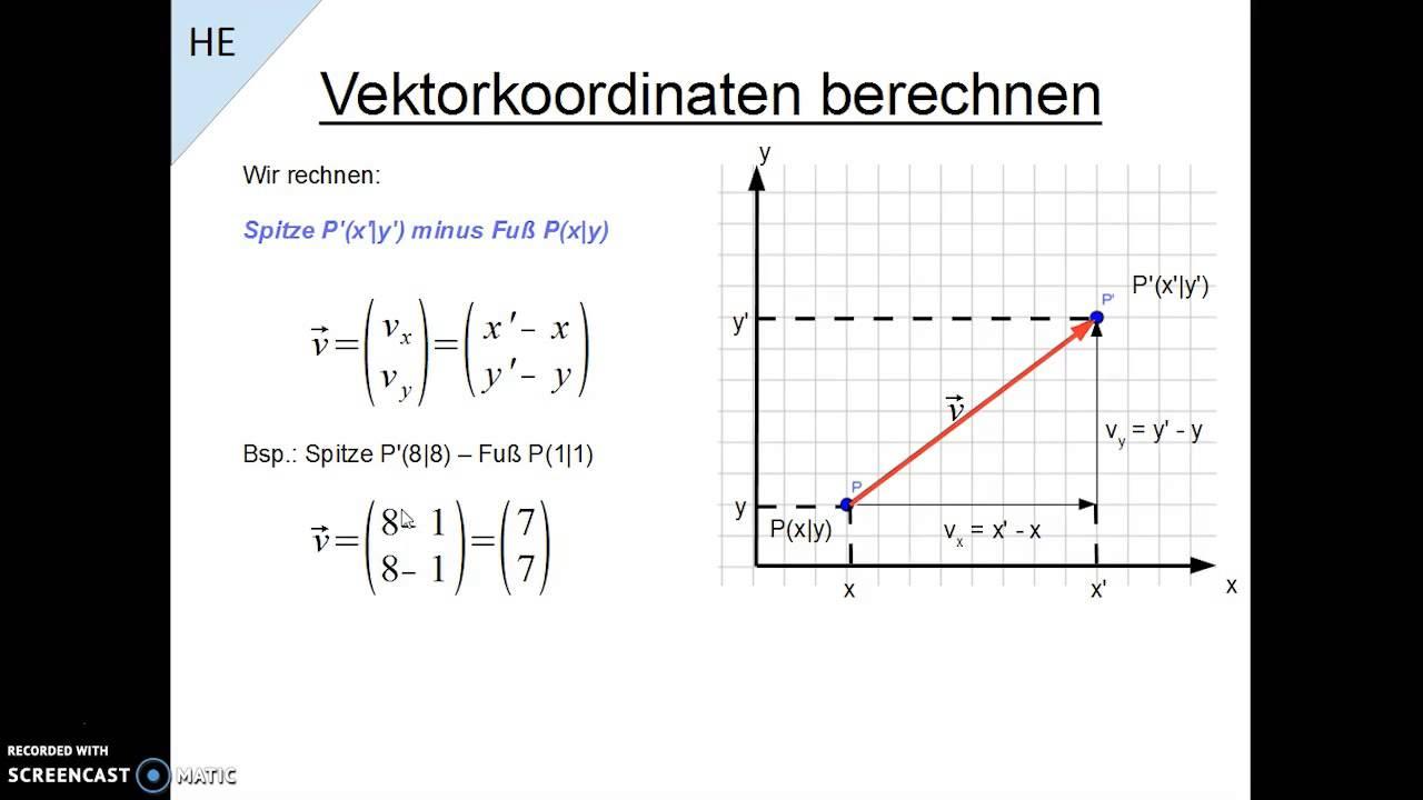 vektorkoordinaten berechnen youtube