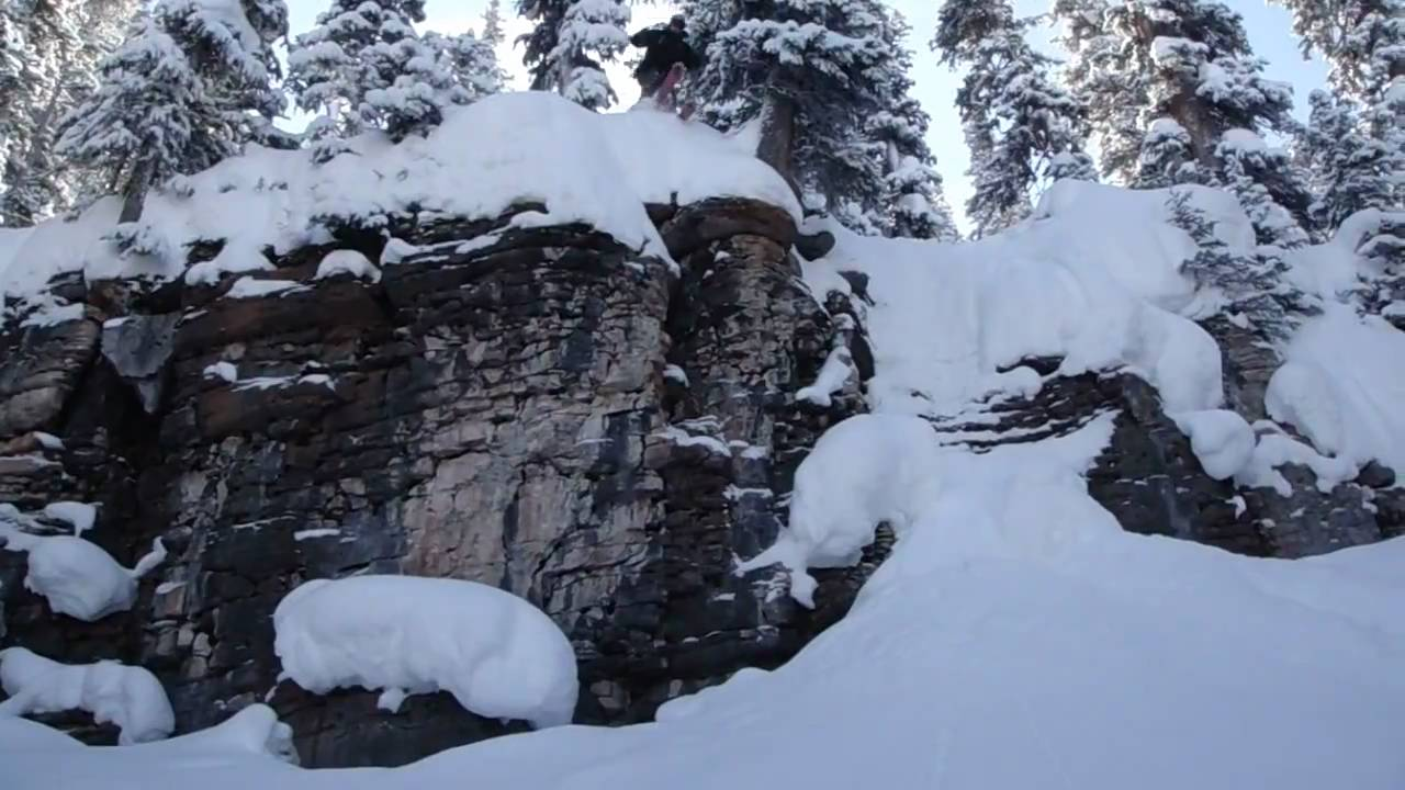 Huge 20 foot skiing cliff jump vail backcountry up close for Chair 4 cliffs vail