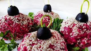 Закуска с сельдью / Свекольные шарики с сельдью / Елочные шары на новогодний стол