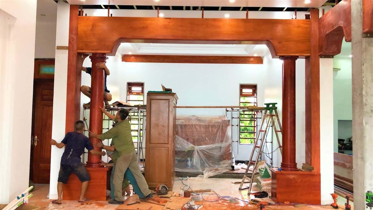 Villa Interior Design Concept With Red Hardwood Monolithic // Amazing Giant Woodworking Projects