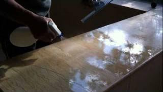 快樂潔-石材美容DIY組合示範教學~石材回春步驟二~拋光粉拋光