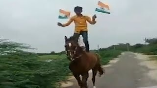 Watch: 14-yr-old pays tribute to nation while standing on running horse