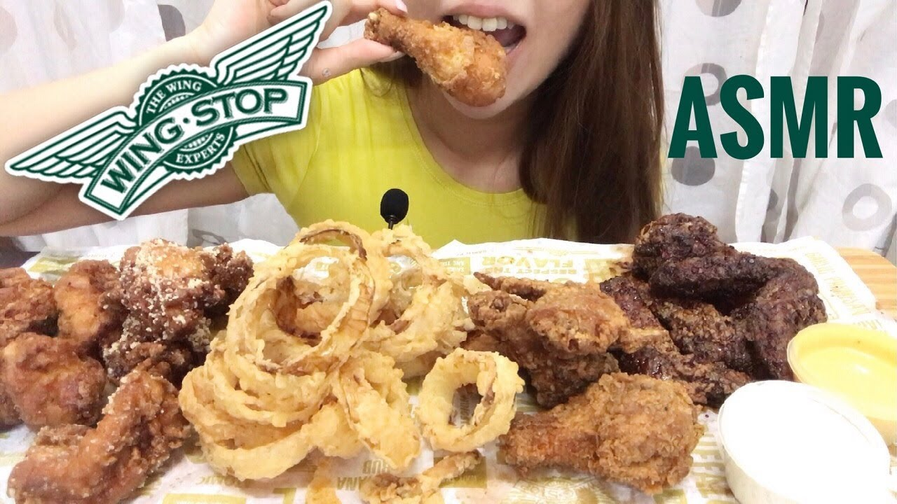Asmr Wingstop Fried Chicken Onion Rings Crunchy Eating Sounds No Talking