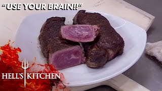 Chef Tries Passing The Blame From Raw Steaks To Overcooked Chicken  | Hell's Kitchen