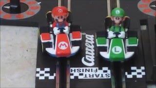 Carrera GO Racecircuit Mario Kart 8  With real life Mario  Super Heroes Fun Real Life