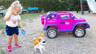 Little Girl Elis Ride On Pink Jeep with The Secret Life Of Pets w/ Thomas Toys Ford Wildtrak