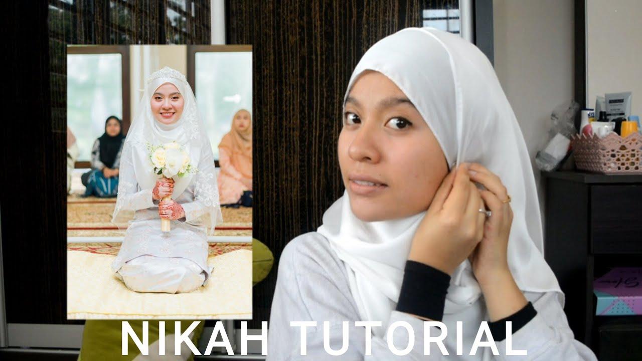 Akad Nikah Neat White Satin Shawl Tutorial Hijab Tutorial Malaysia Youtube
