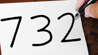 """Como Transformar o NÚMERO"""" 732 """" Em um DRAGÃO   TRUQUES EM DESENHOS"""