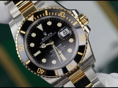 Men's Rolex Submariner 18K Gold & Stainless Steel Glossy Black Index Dial