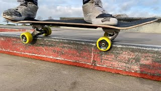Learn to 50/50 grind a Kerb on a skateboard the easy way Part 1 Backside