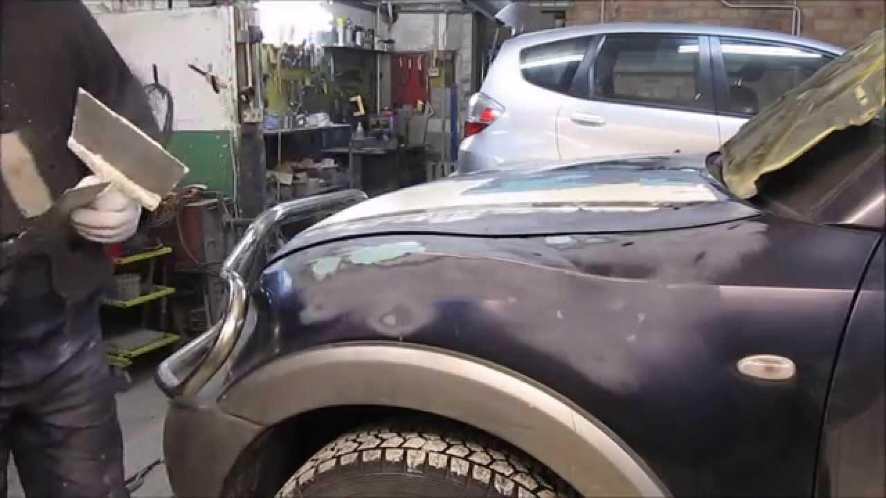 Mitsubishi Pojero. Repair  are front parts. Ремонт передних деталей.